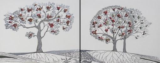 I buoni frutti - dittico- archivio n. 1904, cm 80 x 180 anno 2020. Incisione su alluminio più vestiti usati compattati.