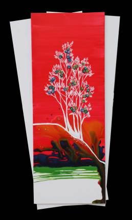 I buoni frutti. archivio n. 2029, cm 70x30 - anno 2021 Pittura a smalto e incisione su PVC + vestiti usati compattati con acciaio inox e resina