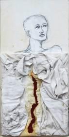 Consapevolezza, marchio n. 822. disegno a carboncino su carta applicata a tavola+ camicia resinata + colore ad olio, cm52x85-anno 2008