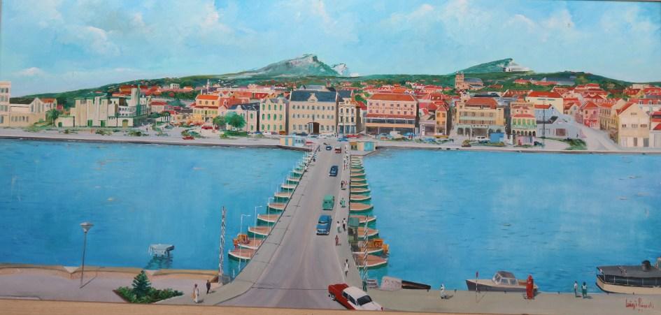 Plaza Brion and the floating pontoons bridge named Queen Emma Bridge