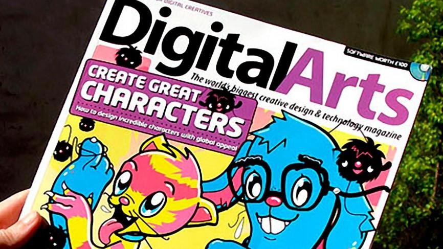 Ilustración de Meni Tzima en la portada de la revista Digital Arts