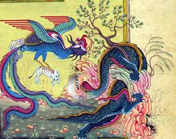 Pintura de un dragón persa