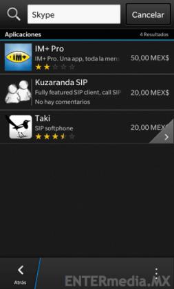 Búsqueda de Skype en BlackBerry 10