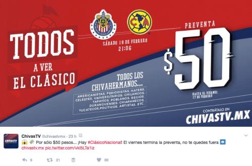 promoción de Chivas TV