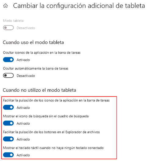 opciones tableta windows 10 2004 3 - Electrogeek