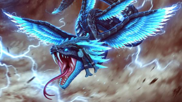 Representação artística de Kukulkán, a serpente emplumada, uma das principais divindades do panteão dos maias