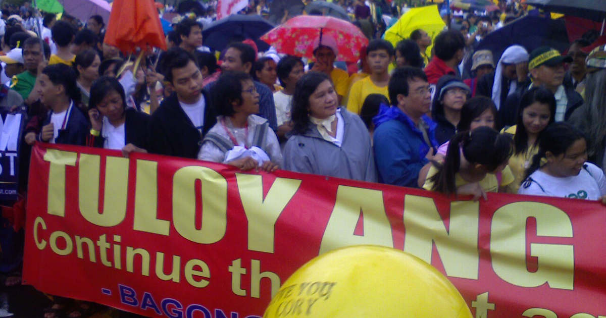Crowd at Cory Aquino's funeral