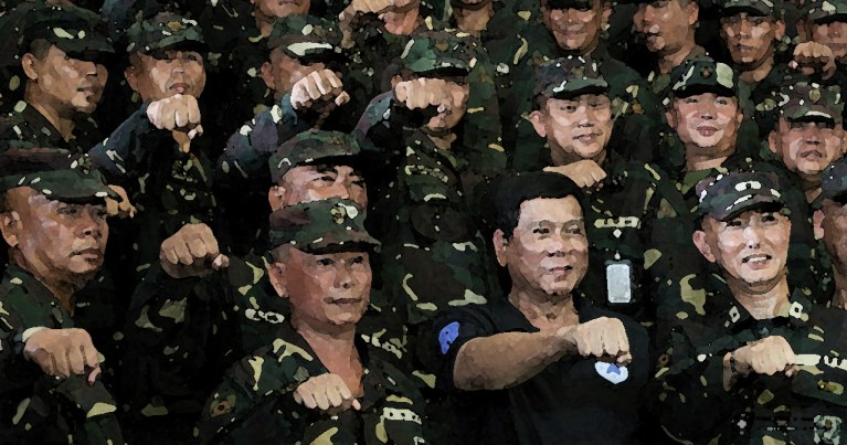 Duterte with soldiers