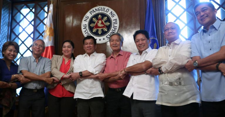 President Rodrigo Duterte and members of the National Democratic Front Peace Panel