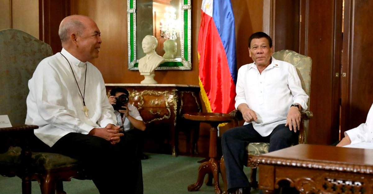 Rodrigo Duterte and Archbishop Romulo Valles
