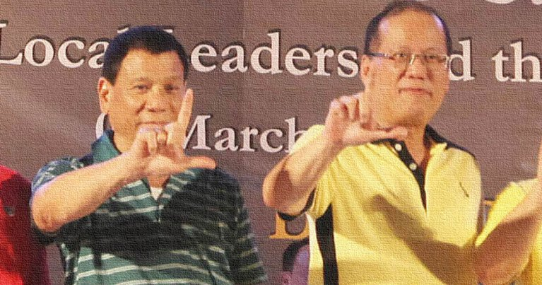 Rodrigo Duterte and Noynoy Aquino flash the Laban sign