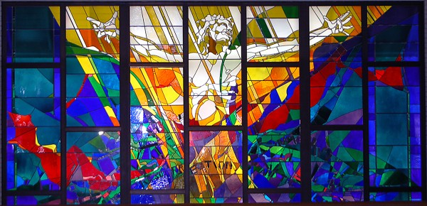 A stained glass window at St. John the Evangelist Church in Prairieville depicts the resurrection of Christ, which Catholics around the world celebrate during the 50 days of the Easter season. Photo by Richard Meek | The Catholic Commentator