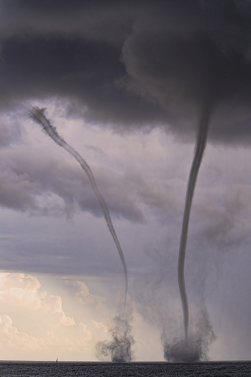 Twin Water Spouts, Honolulu, Hawaii