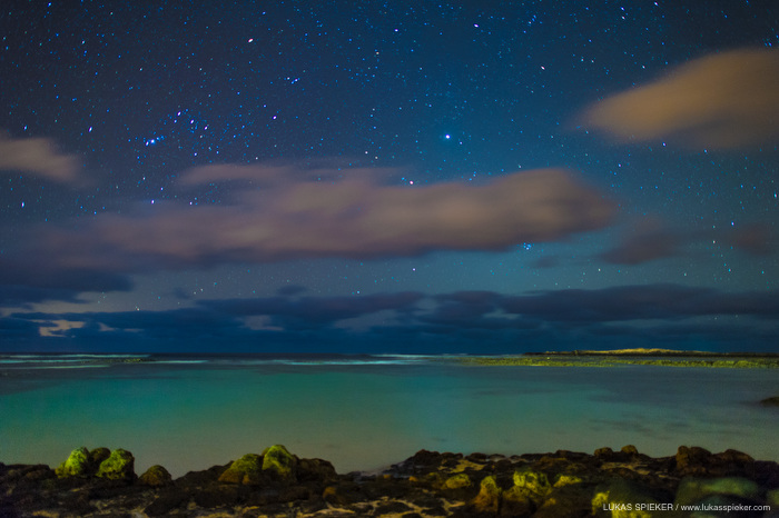 The night sky with stars at the atlantic coast near in Fuerteventura, Spain April 9, 2013. On the left, constellation Orion is seen, and the most prominent celestial body near the center right is the largest planet of the solar system, Jupiter.