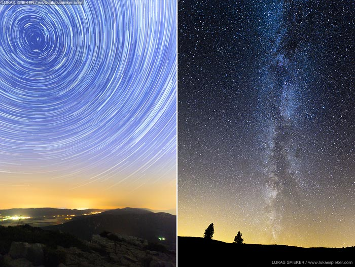 Left: Star trails are pictured at the night sky in Switzerland on August 15, 2013. For the photo, multiple long exposures were combined illustrating the rotation of the earth. Right photo: The Milky Way is pictured above the Creux du Van in Switzerland on August 15, 2013.