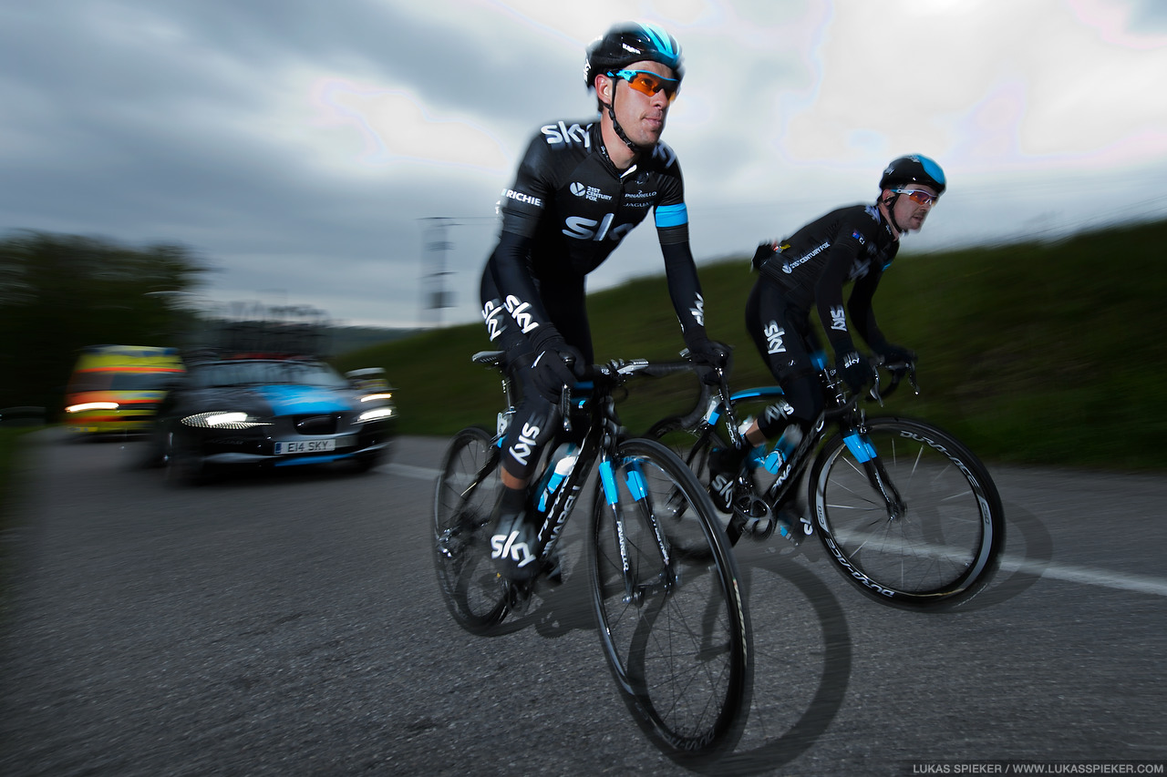 Richie Porte and Christopher Sutton of Team Sky climb to Arconciel during the 4th stage of the Tour de Romandie in Switzerland May 3, 2014.
