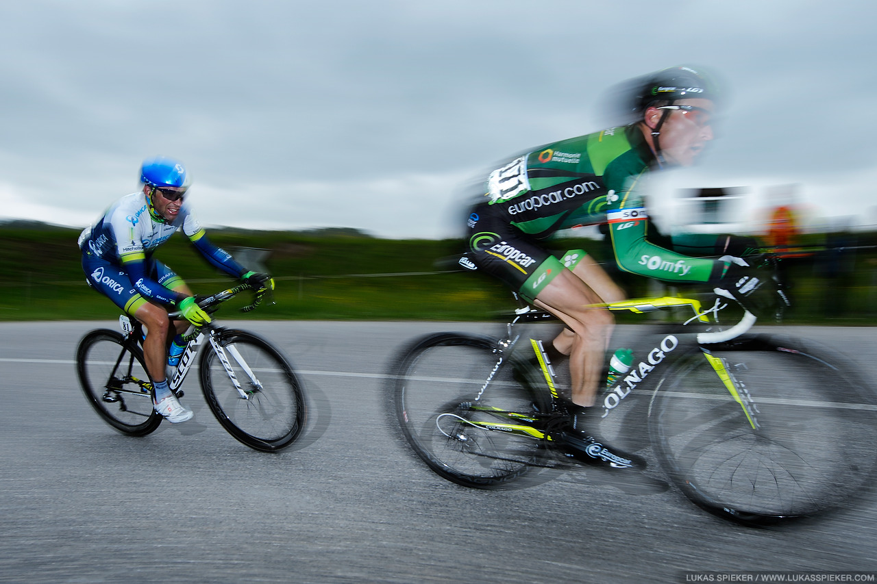 Thomas Voeckler and Michael Albasini lead during the last round around Fribourg in the 4th stage of the Tour de Romandie in Switzerland May 3, 2014.