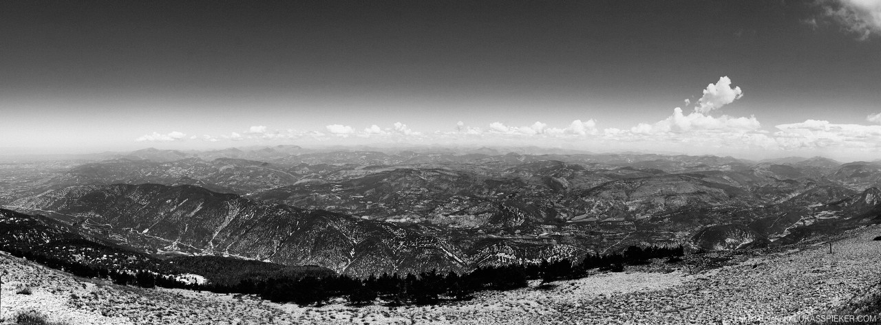 View to the North from Mont Ventoux (1912 m) in the Provence. Mont Ventoux, geologically part of the alps, stands alone and is thus nicknamed the Giant. The name Ventoux might go back to the Gaulish god of the mountains Vintur, while Mons Ventosus means windy mountain in Latin. The Italian poet Petrarch claimed to have climbed the mountain first in 1336.