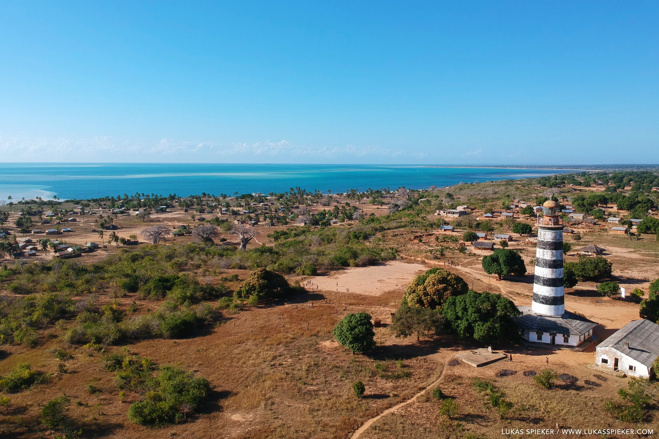 Pinda lighthouse oversees Mozambique's Memba bay. The tower was built in 1923 with a height of 31 metres.