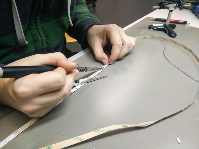 Soldering the LED stripes