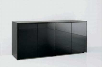 A black rectangular gloss credenza, on a white background.