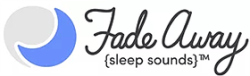 A blue and white moon, next to some dark cursive writing saying FadeAway with Sleep Sounds in block writing below it, on a white background.