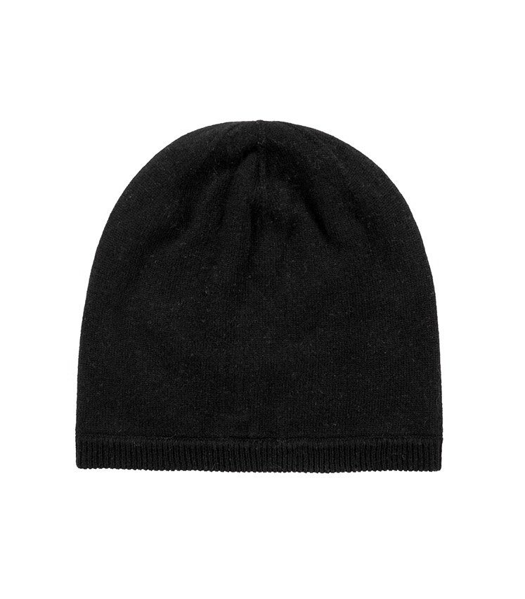 A black wool beanie hat, on a white background.