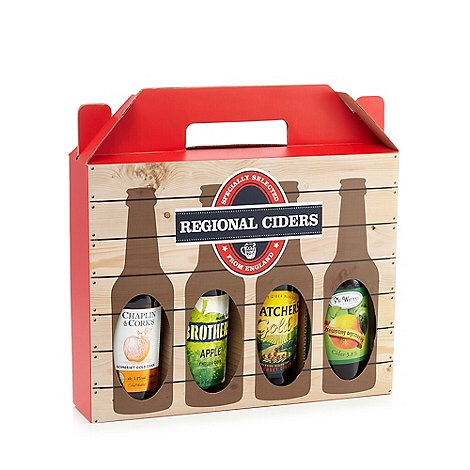 A white box with red handles containing four glass bottles of cider, with a label saying regional ciders on the lid, on a white background.