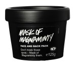 A black tub with a circular lid, with a black label that has Mask Of Magnaminty written on it in white font, on a white background.