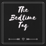 A heart, in between two arrows, below the bedtime tag written in white cursive writing, on a black background.