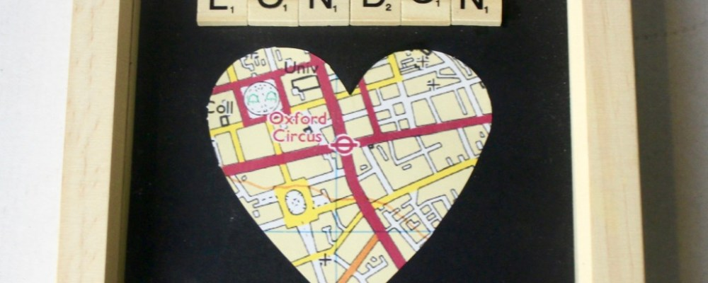 The Map To Great Designs | Juniper Daze Designs Personalised Location Map Heart and Scrabble Letters Gift