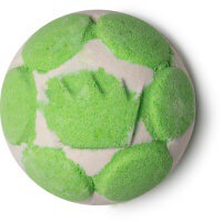 A deep grey coloured spherical bath bomb with some green hexagonal detailing all over it, on a white background.