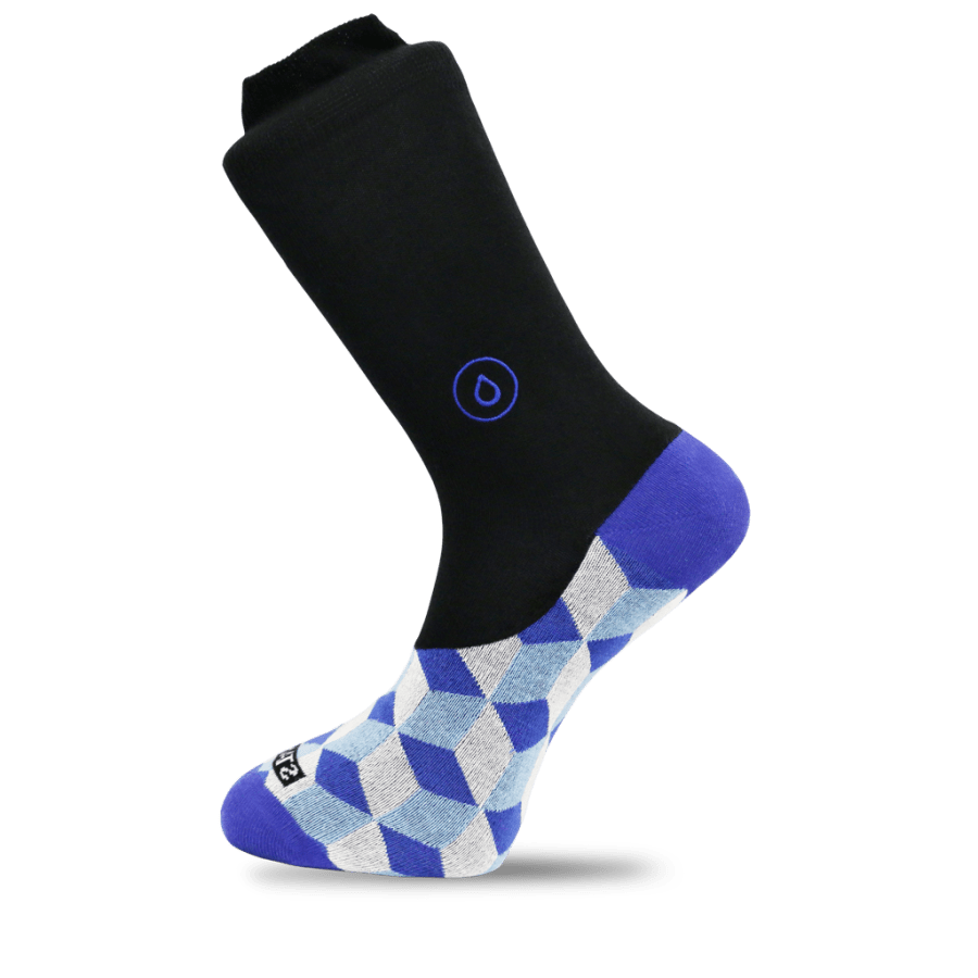 A tall black sock with a dark blue heel and a grey, blue and white pattern on the front of it, on a white background.