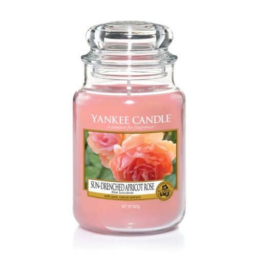 A tall glass jar full of some light Pink coloured wax with a label that has yankee candle written in black writing, Sun-Drenched Apricot Rose written in black writing, and a picture of a bright pink rose and a bright orange apricot on a patch of green grass on it, on a bright background.
