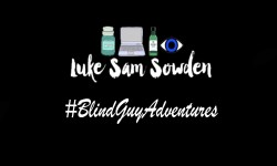 A drawing of a laptop, a candle, a bottle of shower gel and an Eye that has Luke Sam Sowden written in bold black writing next to it and #BlindGuyAdventures written in bold white writing underneath it, on a black background.
