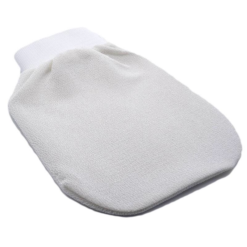 A white scrubbing glove with an elasticated wristband on a white background.