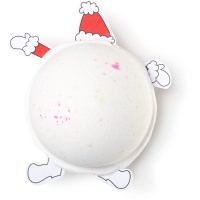 A large circular shaped white bath bomb that has some paper arms and legs sticking out of it, on a white background.