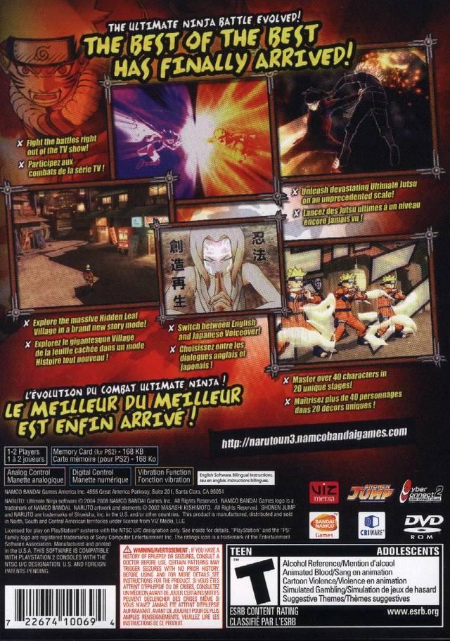 Naruto Ultimate Ninja 3 Sony Playstation 2 Game