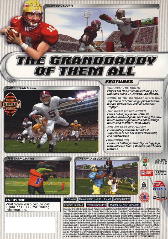 NCAA Football 2002 Sony Playstation 2 Game
