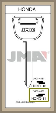 JMA aihiosta Honda metallipäinen avain