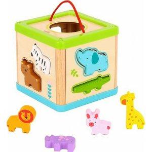 Tooky Toys Ξύλινος Κύβος Σφηνώματα με Ζωάκια