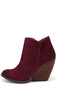 Very Volatile Whitby Wine Suede Leather Wedge Booties