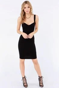 Set a Strap Bodycon Black Dress