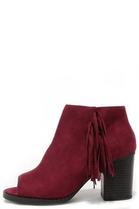 Make a Peep Dark Burgundy Peep Toe Fringe Booties