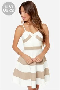 LULUS Exclusive Band and Deliver Beige and Ivory Dress