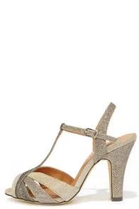 Chelsea Crew Diana Gold Fabric Peep-Toe Heels