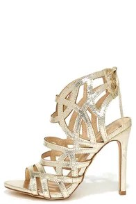Awe or Nothing Gold Caged Lace-Up Heels
