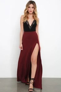 Maracas and Cabasas Maroon Maxi Skirt