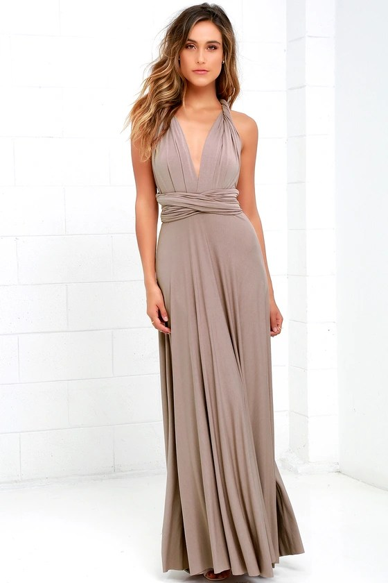 Awesome Taupe Dress   Maxi Dress   Wrap Dress Tricks of the Trade Taupe Maxi Dress