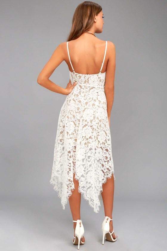Lovely White Lace Dress Midi Dress Handkerchief Hem Dress